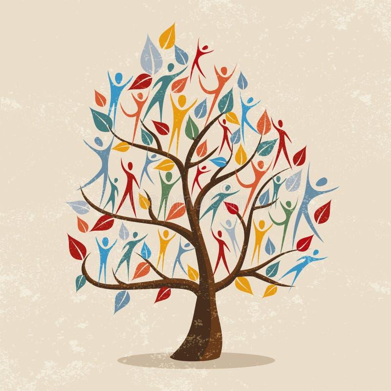 Ilustração do conceito da árvore genealógica com ícone dos povos ilustração stock