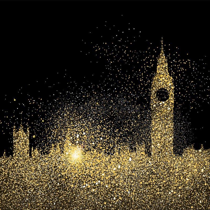 Ilustração do conceito da arte do brilho do ouro da skyline da cidade ilustração royalty free