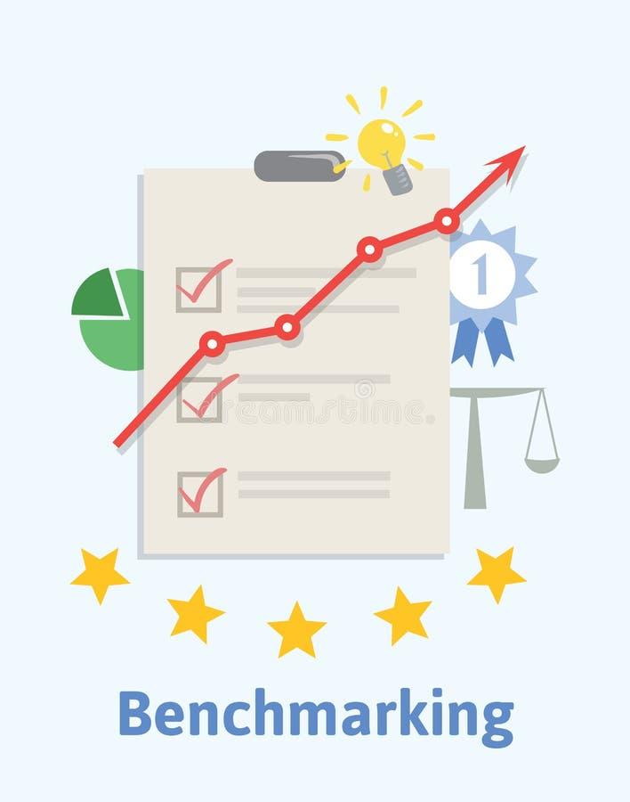 Ilustração do conceito da avaliação Comparando um processos de negócios do ` s e medidor do desempenho às melhores práticas de ilustração royalty free