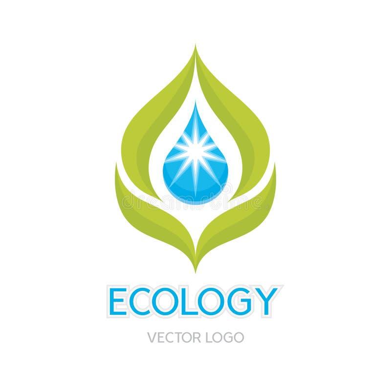 Ilustração do conceito da ecologia - vetor abstrato Logo Sign Template Folhas e ilustração da gota ilustração royalty free
