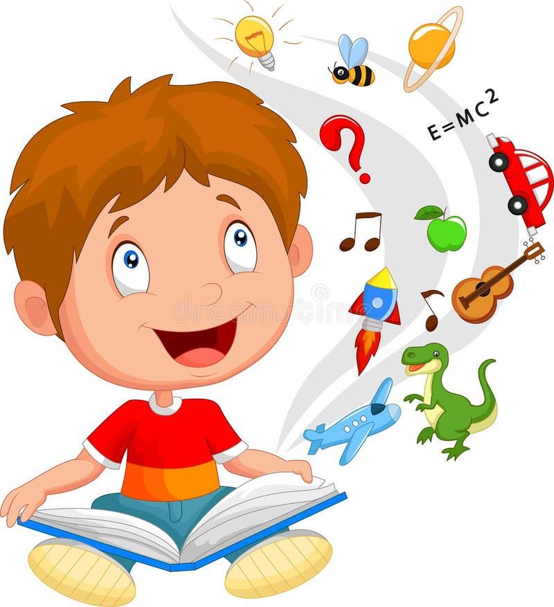 Ilustração do conceito da educação do livro de leitura dos desenhos animados do rapaz pequeno ilustração do vetor