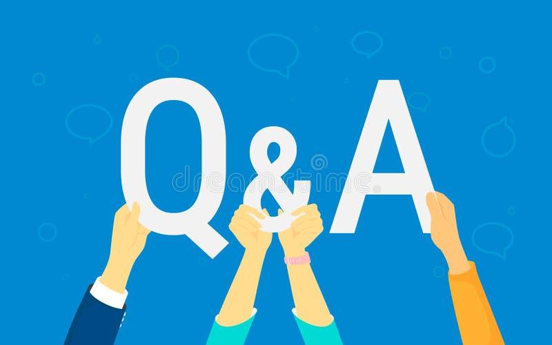 A ilustração do conceito da pergunta e resposta das mãos humanas guarda as letras Q e A ilustração do vetor