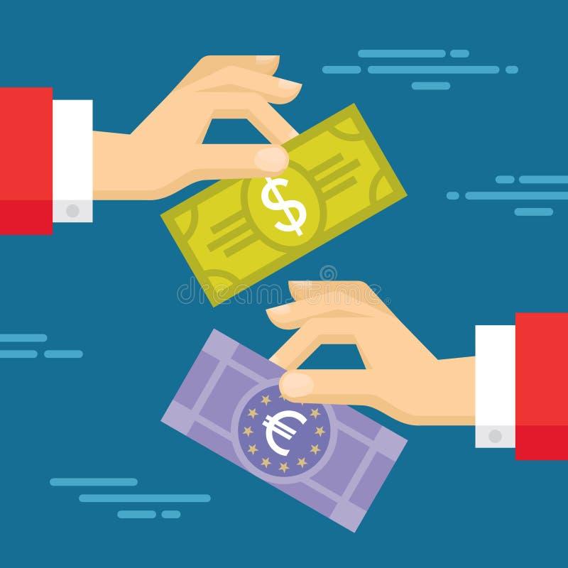 Ilustração do conceito da troca de moeda no projeto liso do estilo Mãos e cédulas humanas ilustração stock