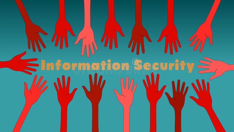 Ilustração do conceito das ameaças da segurança da informação com mãos vermelhas ilustração royalty free