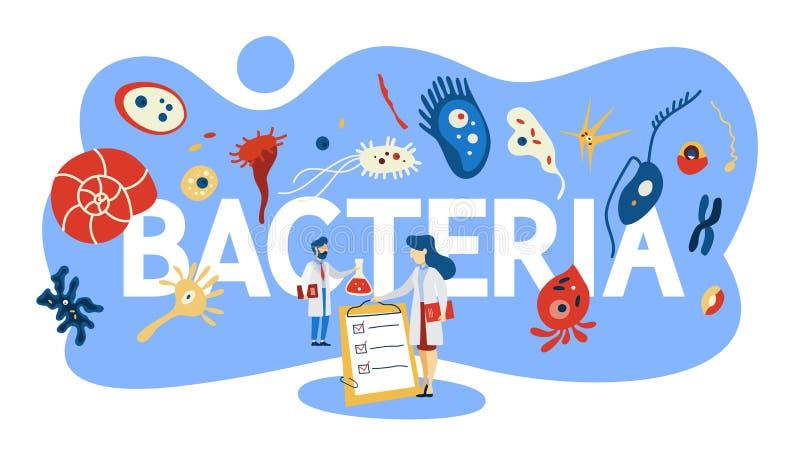 Ilustração do conceito das bactérias Área da medicina e da microbiologia ilustração do vetor