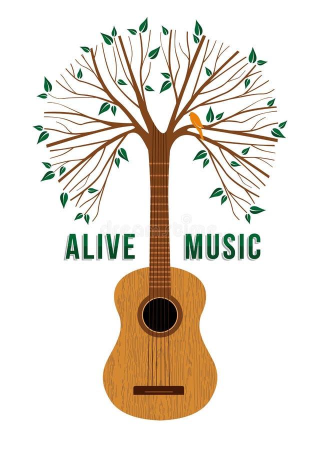 Ilustração do conceito das citações da música ao vivo da árvore da guitarra ilustração stock