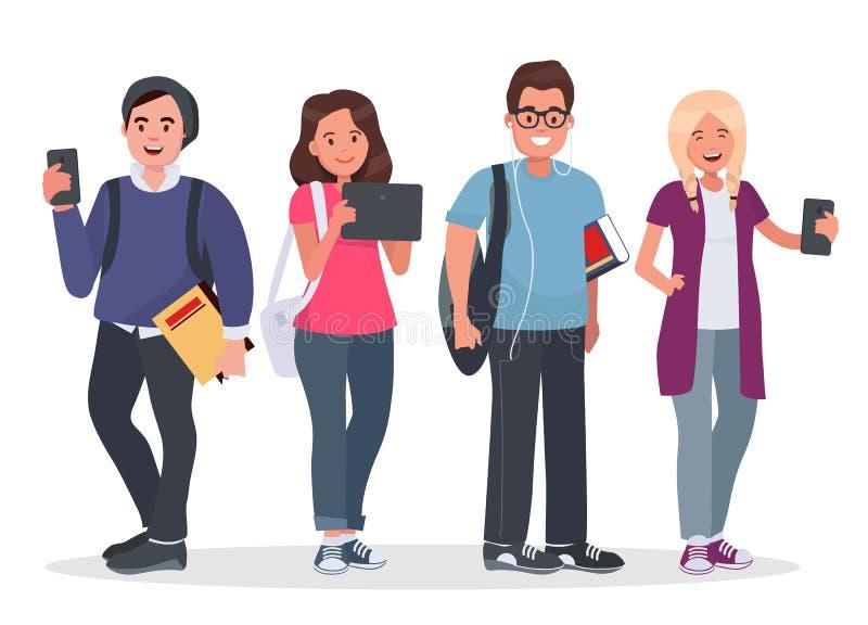 Ilustração do conceito das estudantes universitário ilustração stock