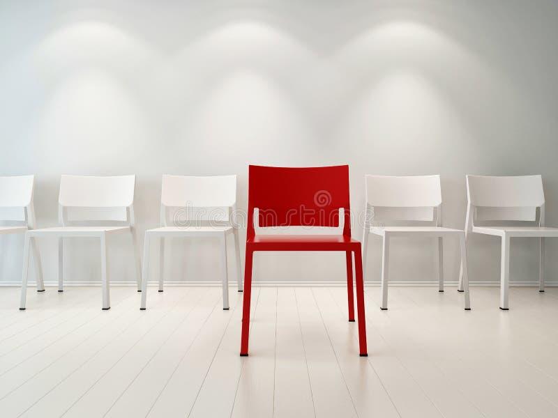 Ilustração do conceito de cadeiras vermelhas e brancas ilustração royalty free