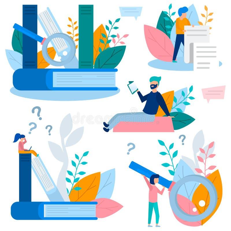 Ilustração do conceito de elementos do conhecimento e da recolha de informação, treinamento em linha, Internet que estuda, livro  ilustração royalty free