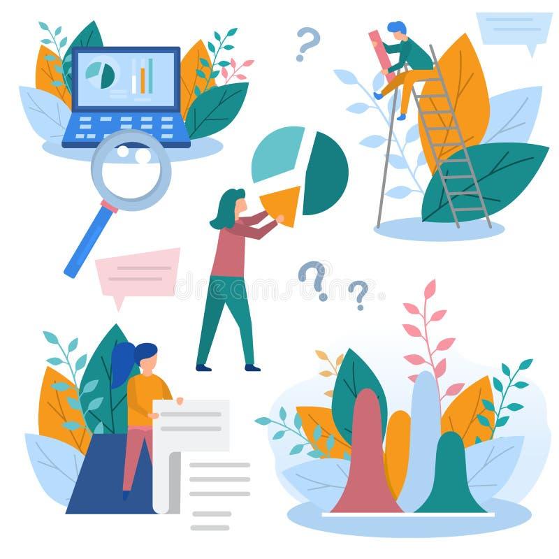 A ilustração do conceito de elementos da analítica do negócio, de recolhimento da informação, de análise de dados, de gráficos e  ilustração royalty free