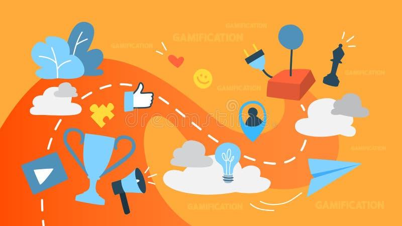 Ilustração do conceito de Gamification ilustração royalty free
