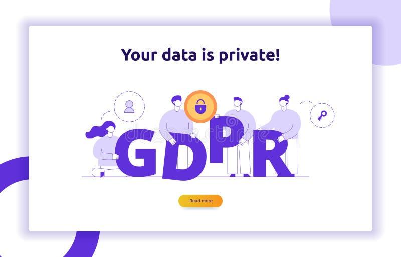 Ilustração do conceito de GDPR com os povos modernos grandes, ícones da privacidade, letras Bandeira regulamentar da Web da prote ilustração stock