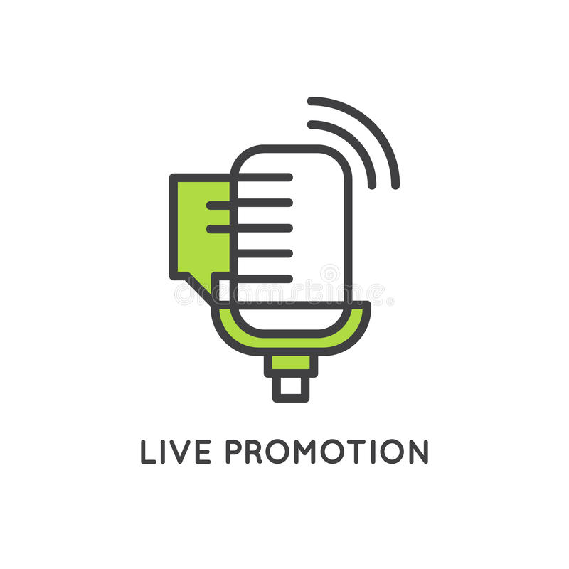 Ilustração do conceito de Live Event Marketing e do processo da promoção ilustração royalty free