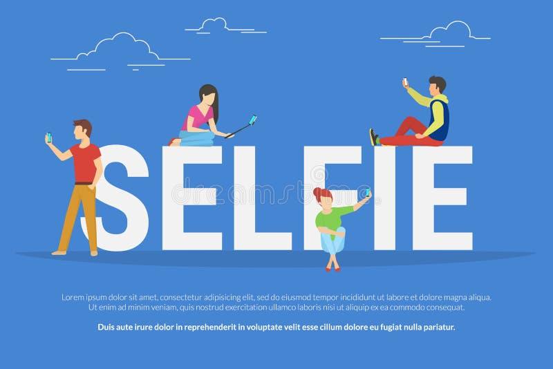 Ilustração do conceito de Selfie ilustração stock