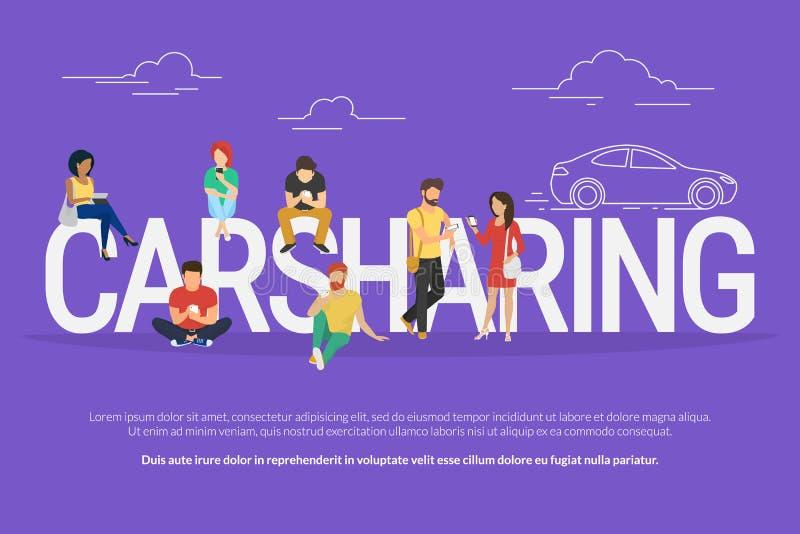 Ilustração do conceito do Carsharing ilustração royalty free