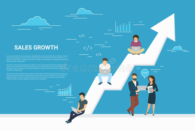 Ilustração do conceito do crescimento do negócio dos executivos que trabalham junto como a equipe ilustração stock