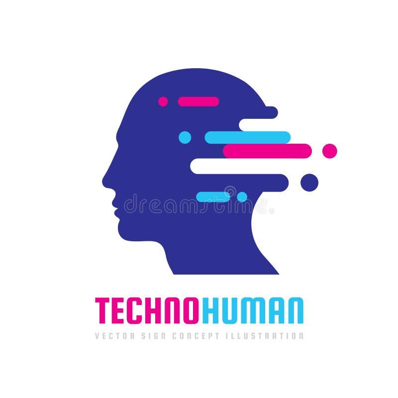 Ilustração do conceito do logotipo do vetor da cabeça humana de Techno Sinal criativo da ideia Aprendendo o ícone Chip de computa ilustração royalty free