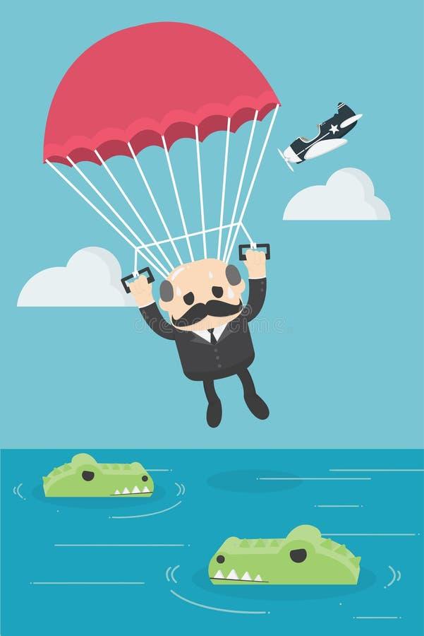 Ilustração do conceito do negócio de um homem de negócios na água w completo ilustração do vetor