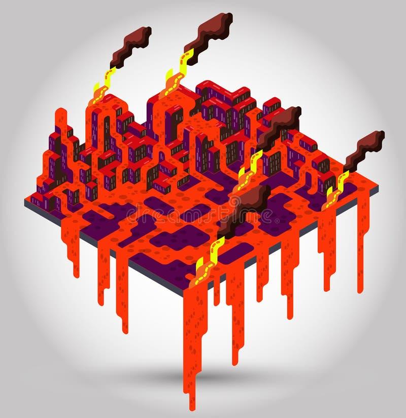 Ilustração do conceito do vulcão ilustração stock