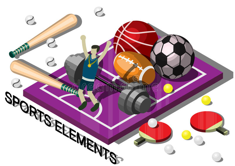 Ilustração do conceito gráfico do material desportivo da informação ilustração royalty free