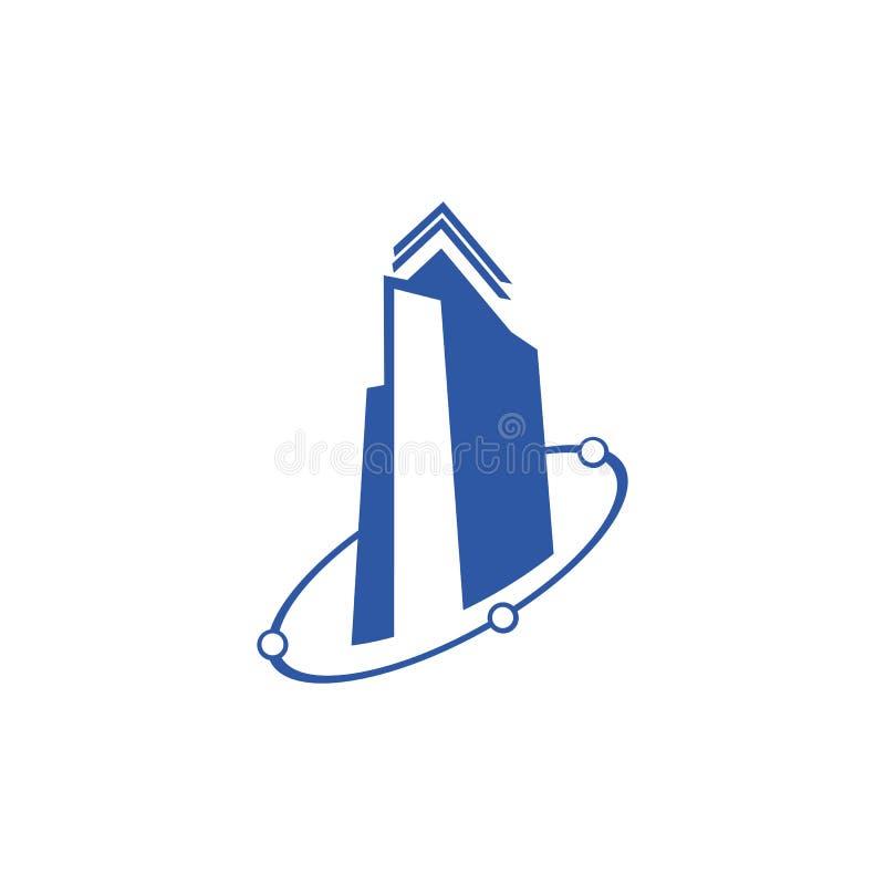 Ilustração do conceito do logotipo dos bens imobiliários, logotipo de construção no estilo gráfico clássico, logotipo de Citysear ilustração stock