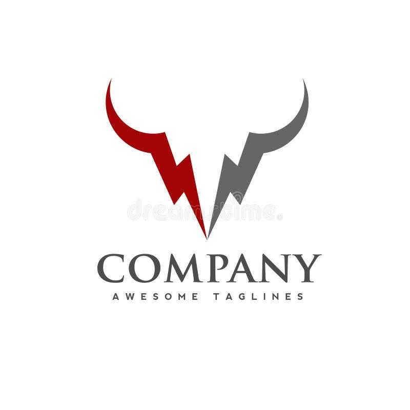 Ilustração do conceito do logotipo do vetor do poder da cabeça de Bull ilustração do vetor