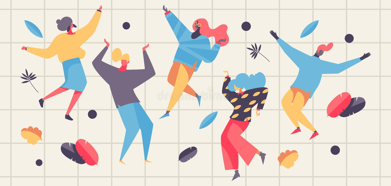 Ilustração do conceito do vetor com povos e hortaliças da dança Caráteres lisos do freedance feliz nas cores pastel ilustração royalty free