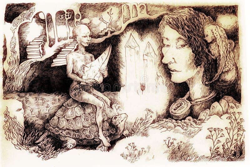 Ilustração do conto de fadas, criatura de cristal que monta uma tartaruga ilustração royalty free
