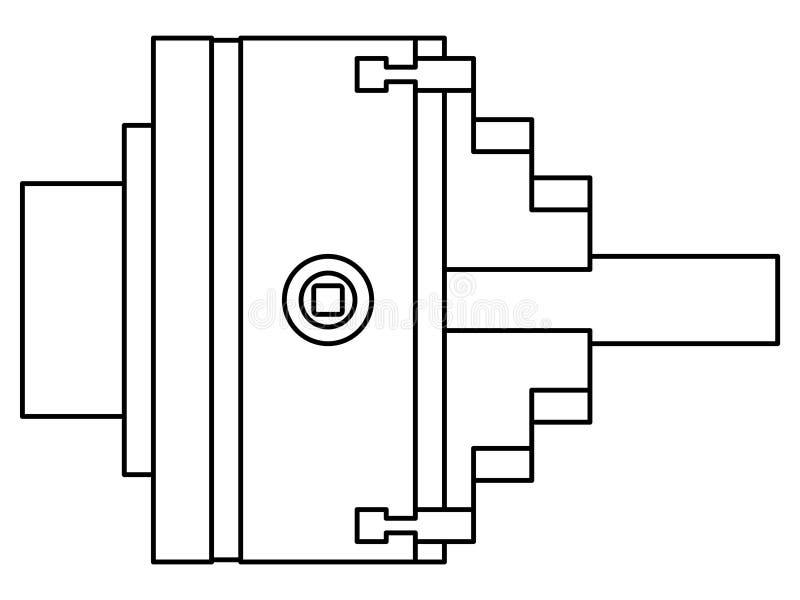 Ilustração do contorno da ferramenta do mandril do torno ilustração royalty free
