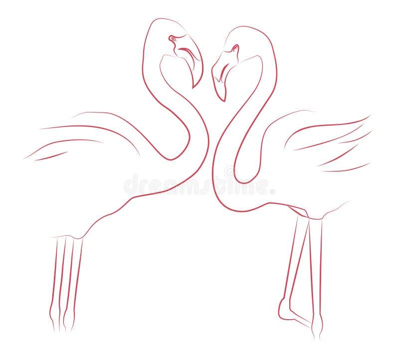 Ilustração do contorno de dois flamingos dos amantes ilustração stock