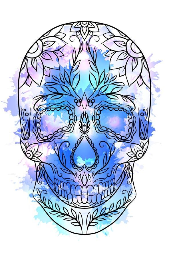 A ilustração do contorno de um crânio do açúcar com aquarela espirra ilustração royalty free