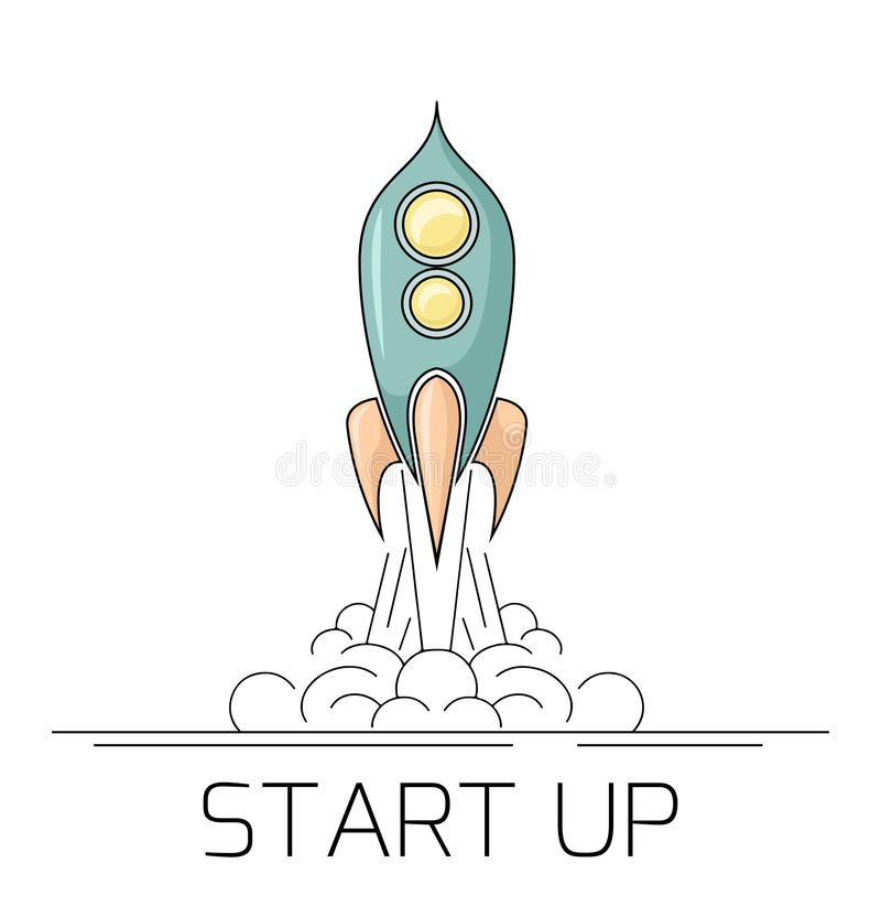 Ilustração do contorno de um foguete de espaço retro que decola com fumo Comece acima o projeto com um starship Desenho linear ilustração royalty free