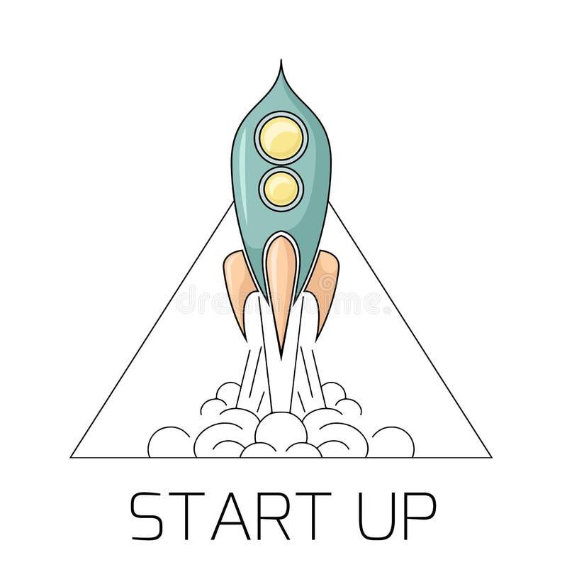 Ilustração do contorno de um foguete de espaço retro que decola com fumo no triângulo Comece acima o projeto com um starship Dese ilustração royalty free