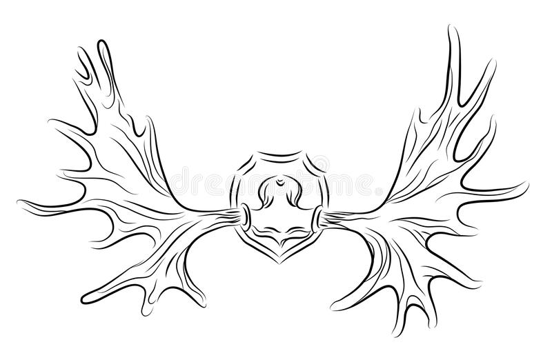 Ilustração do contorno dos chifres dos alces ilustração do vetor