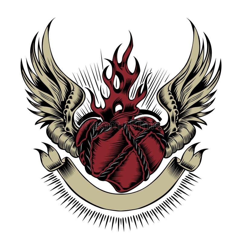 Ilustração do coração com asas fotografia de stock royalty free