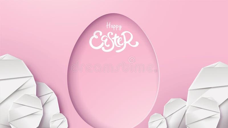 ilustração do corte do papel 3d do coelho de easter, da grama, das flores e da forma do ovo Molde moderno do cartão feliz de east ilustração stock