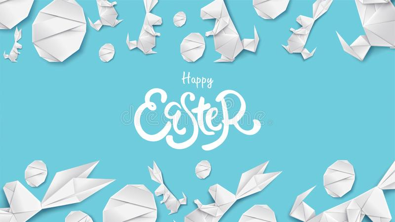 ilustração do corte do papel 3d do coelho de easter, da grama, das flores e da forma do ovo Molde moderno do cartão feliz de east ilustração royalty free