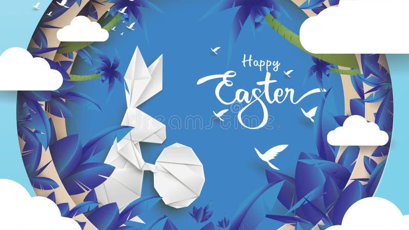 ilustração do corte do papel 3d da forma do coelho, da grama, das flores, da planta, da árvore e do ovo de easter com conceito da ilustração stock