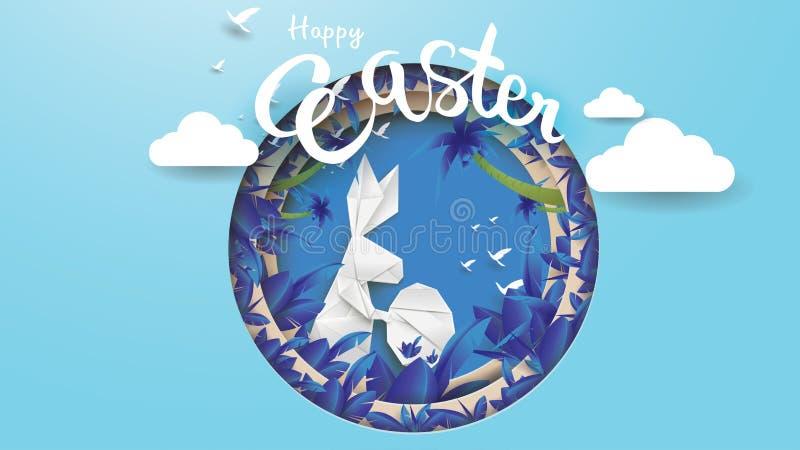 ilustração do corte do papel 3d da forma do coelho, da grama, das flores, da planta, da árvore e do ovo de easter com conceito da ilustração royalty free