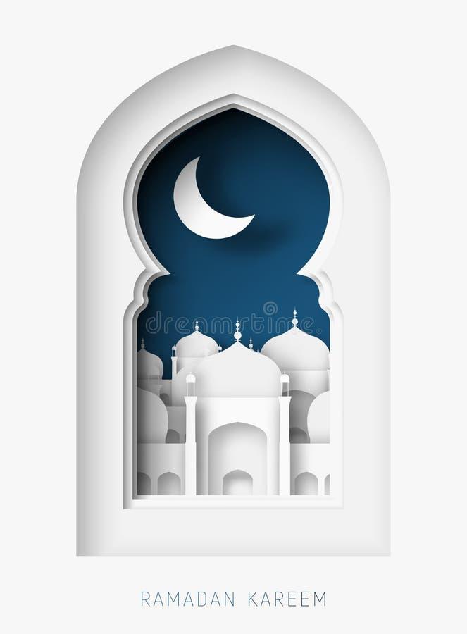 Ilustração do corte do papel do sumário de Ramadan Kareem 3d Janela com mesquita islâmica Lua e céu azul ilustração do vetor