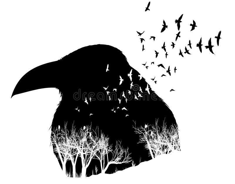 Ilustração do corvo com efeito da exposição dobro ilustração stock
