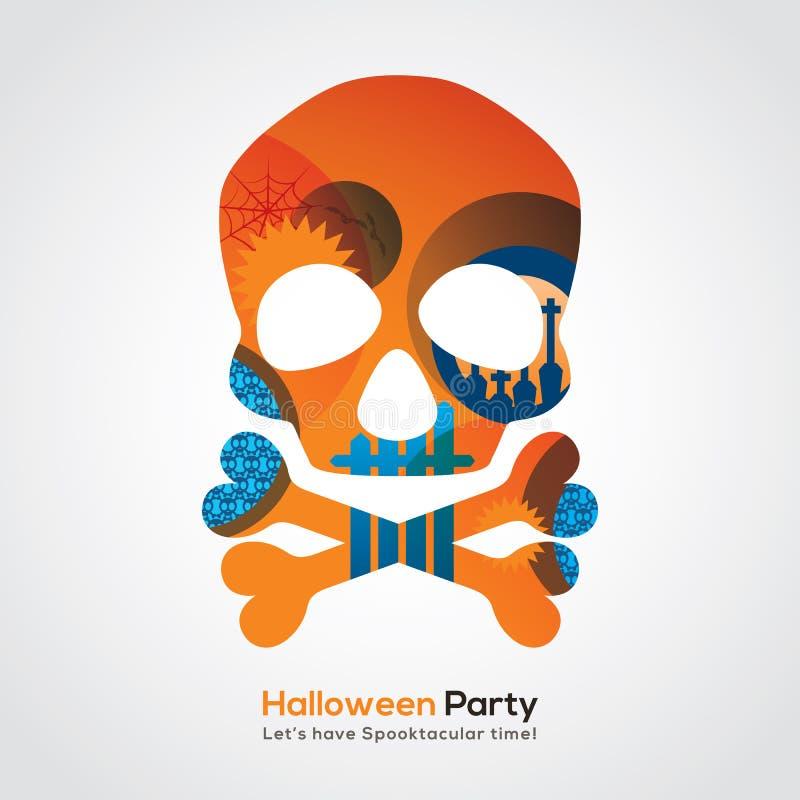 Ilustração do crânio do partido de Dia das Bruxas para o cartaz do cartão do convite