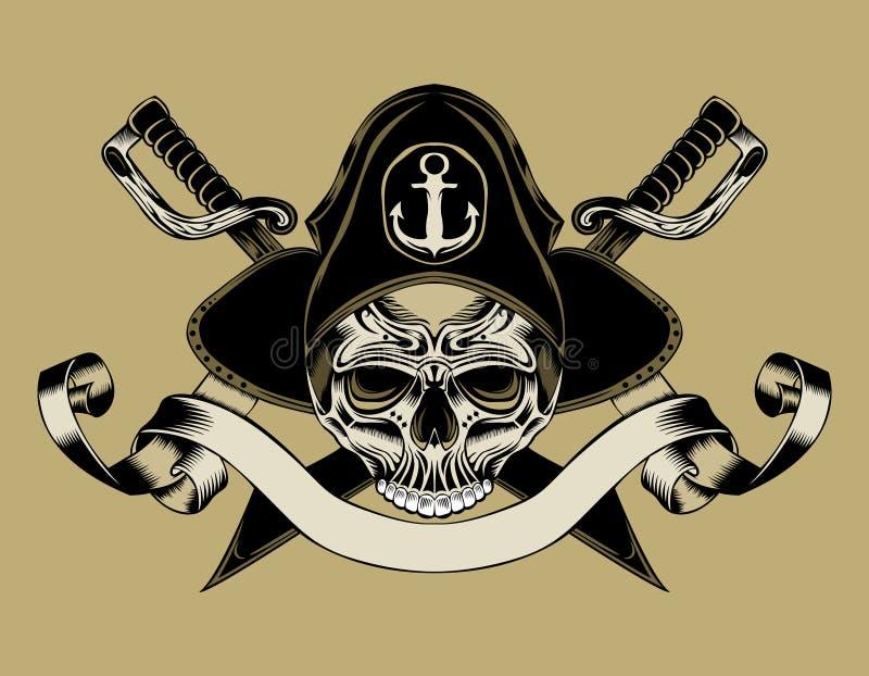Ilustração do crânio do pirata ilustração stock