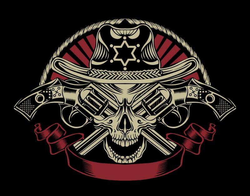 Ilustração do crânio do xerife imagens de stock