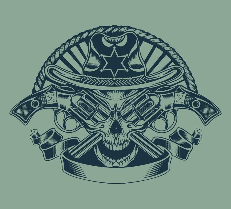 Ilustração do crânio do xerife ilustração royalty free