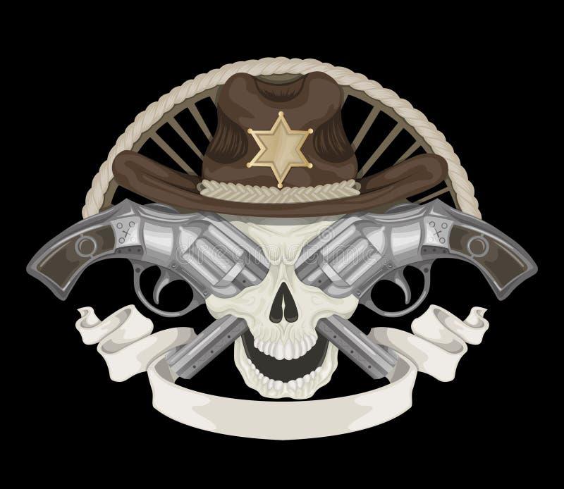 Ilustração do crânio do xerife ilustração stock