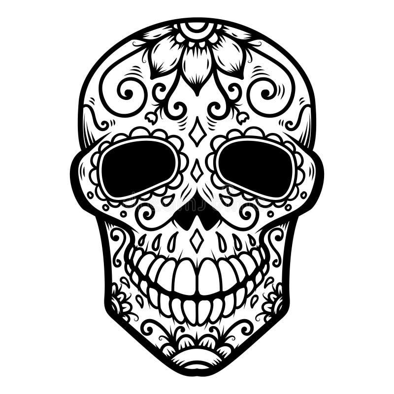 Ilustração do crânio mexicano do açúcar Dia dos mortos Diâmetro De Los Muertos Projete o elemento para o logotipo, etiqueta, embl ilustração stock
