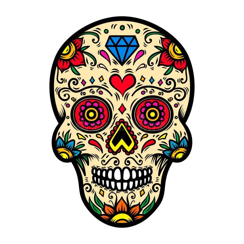 Ilustração do crânio mexicano do açúcar isolado no fundo branco Projete o elemento para o cartaz, cartão, camisa de t ilustração do vetor