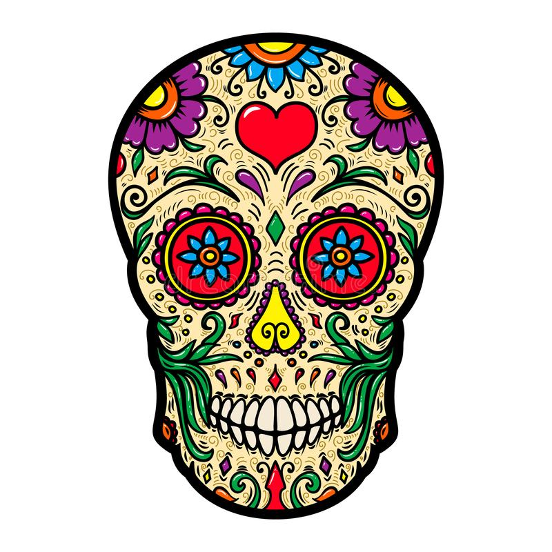 Ilustração do crânio mexicano do açúcar isolado no fundo branco Projete o elemento para o cartaz, cartão, camisa de t ilustração royalty free