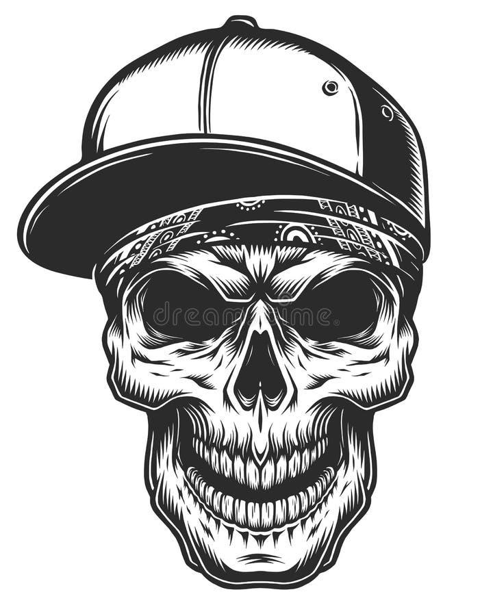 Ilustração do crânio no bandana e no boné de beisebol ilustração stock